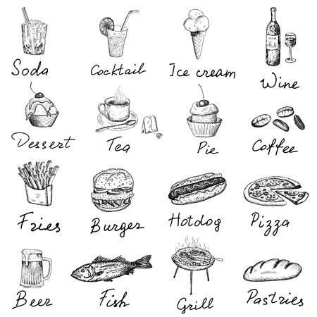 perro caliente: alimentos e inscripciones Vectores