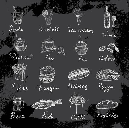 food and inscriptions 일러스트