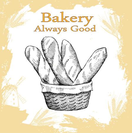 baguette: bakery set Illustration