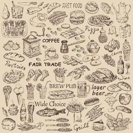 verschillende voedsel Stock Illustratie