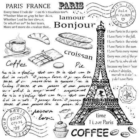 coffe: Paris Eiffel Tower Illustration