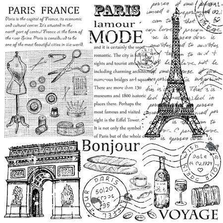 paris vintage: Torre Eiffel de Par�s Vectores