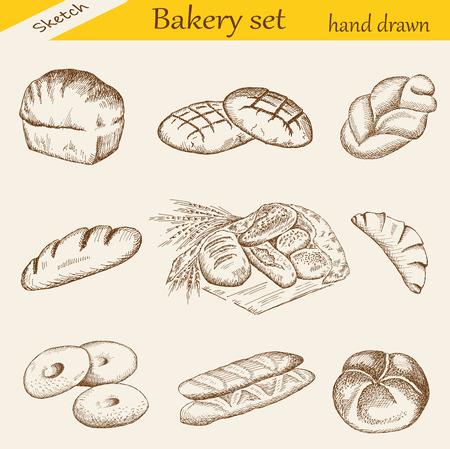 bagels: bakery set Illustration