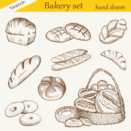 bakery set 일러스트