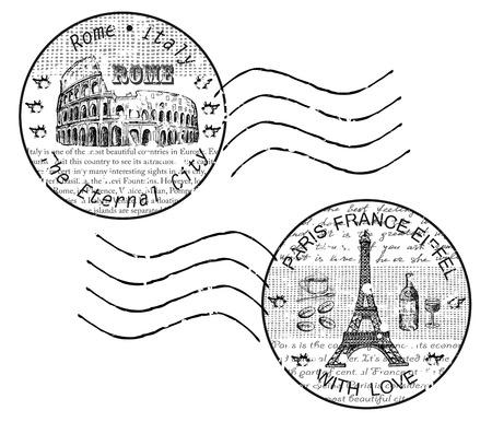 shtamp rome paris Ilustração
