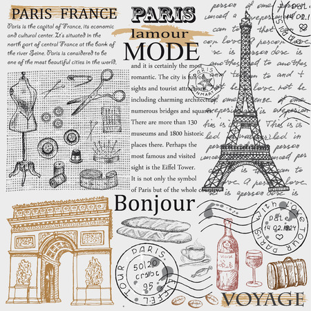 paris vintage: Torre Eiffel de París Vectores