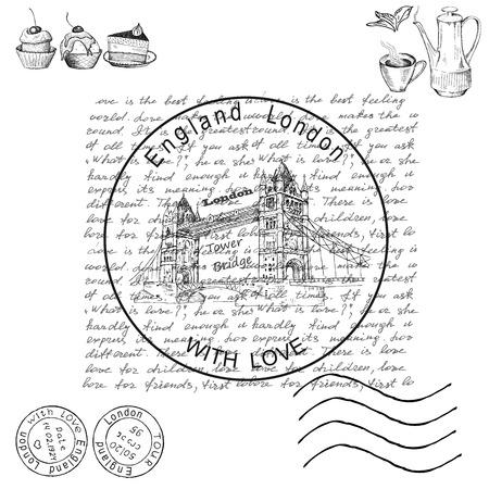 vintage stamp: london Illustration