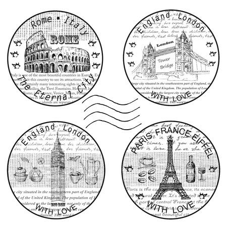 timbre voyage: estampiller rome paris Illustration
