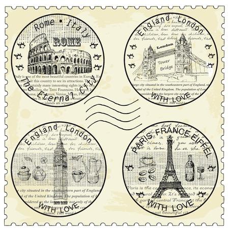 stamp rome paris london Vector