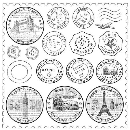 pasaporte: Conjunto del sello Vectores