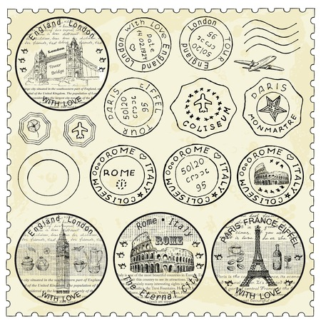 stamp: Conjunto del sello Vectores