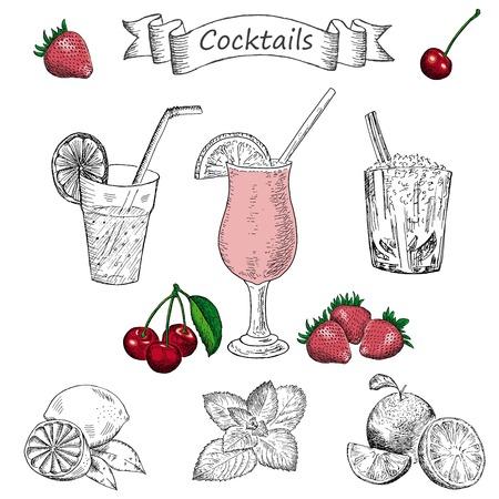 verre de jus d orange: cocktails. ensemble de dessins vectoriels de dessin � la main
