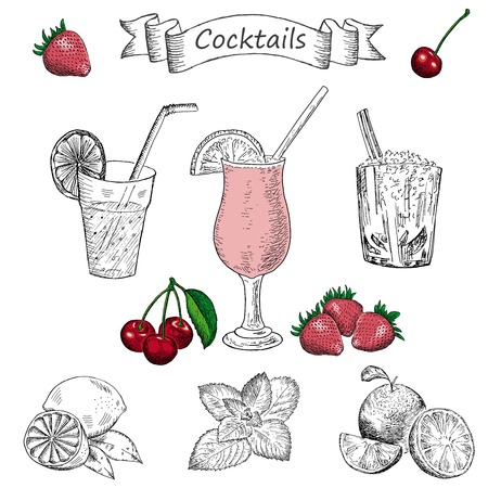 orange juice: cocktails. hand drawing set of vector sketches Illustration