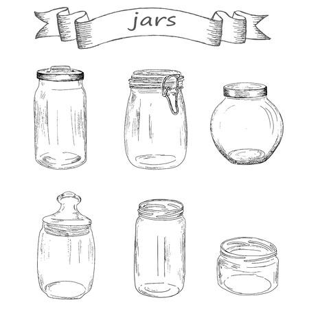 glass jars. hand drawing set of vector sketches Stock Illustratie