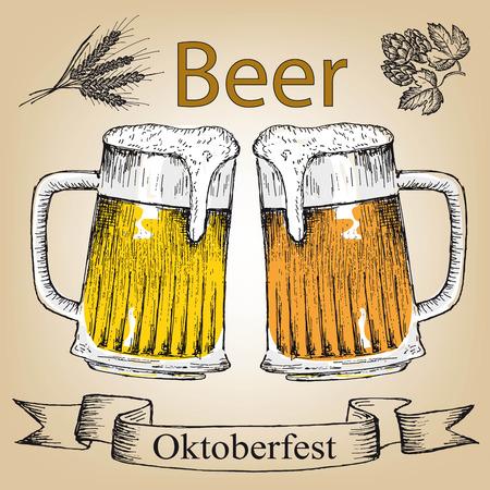 bbq barrel: Oktoberfest set of beer. Hand drawn illustrations