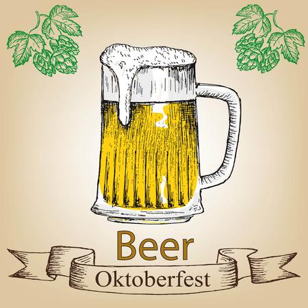 vasos de cerveza: Conjunto de Oktoberfest de la cerveza. Ilustraciones drenadas mano