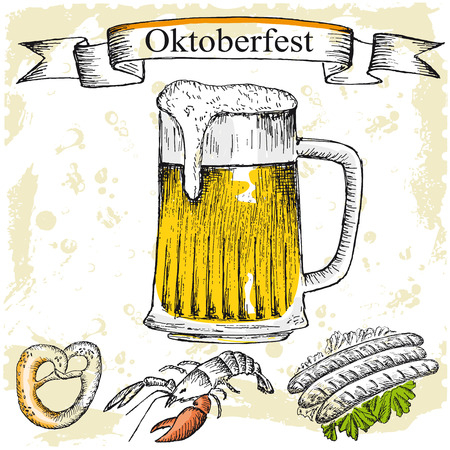 german beer: Oktoberfest set of beer. Hand drawn illustrations