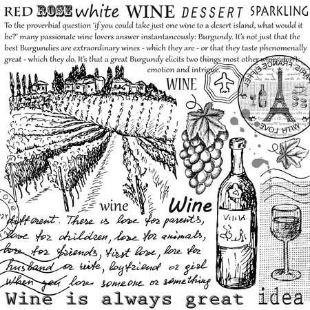 vinho: ilustração vetorial mão tirada vintage de vinho Ilustração