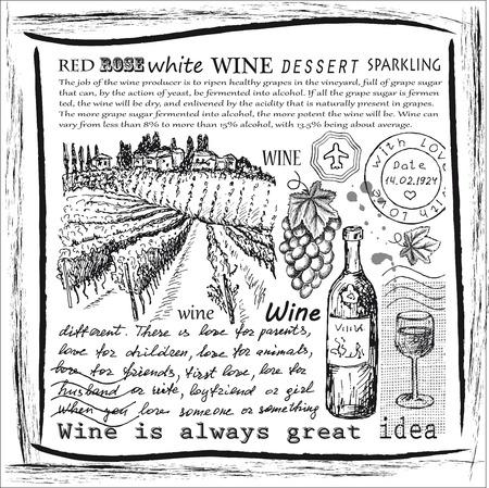 wine making: vector vintage hand drawn illustration of wine Illustration
