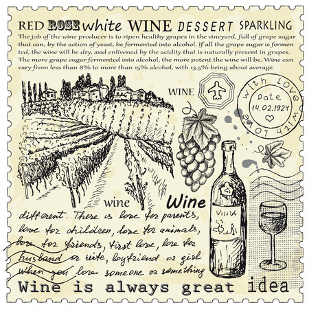 wine grape: vector vintage hand drawn illustration of wine Illustration