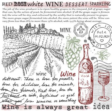 wine grapes: vector vintage hand drawn illustration of wine Illustration