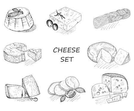 チーズ。手描きのスケッチのベクトルのセット