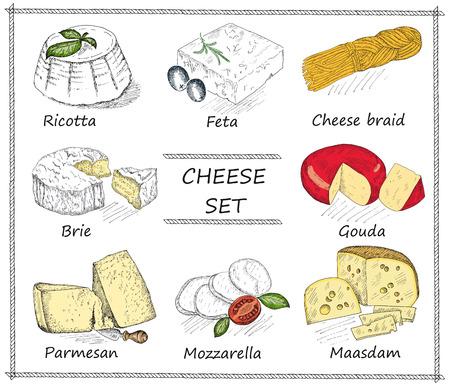 kaas. hand tekenen set van vector schetsen Stock Illustratie