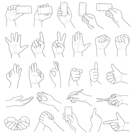 pointing hand: hand on white background. hand drawing set of vector sketches