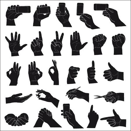dedo: mão no fundo branco. set desenho da mão de esboços do vetor
