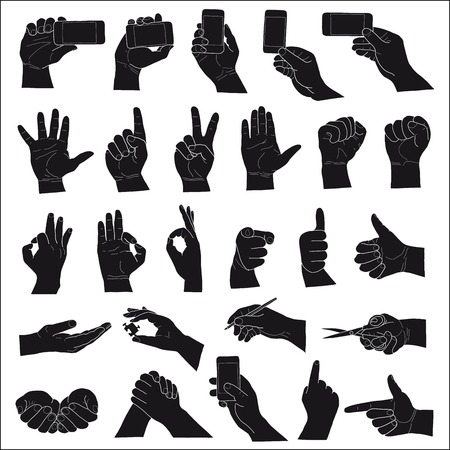 hand on white background. hand drawing set of vector sketches