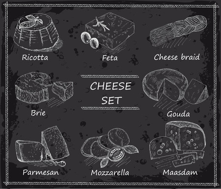 cheese. hand drawing set of vector sketches Иллюстрация