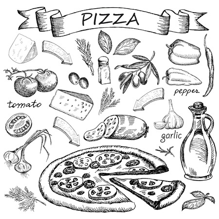 basil: pizza. hand drawing set of vector sketches Illustration