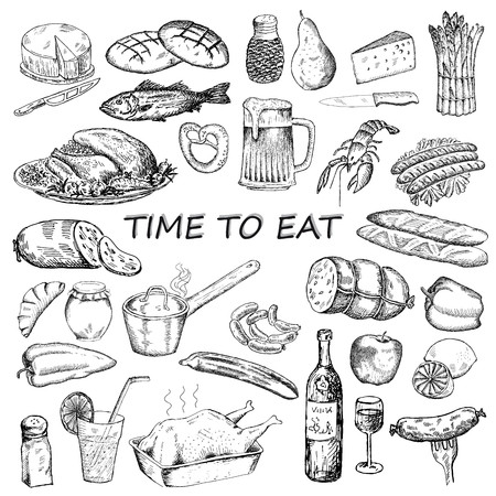 aliment: le temps de manger. ensemble de dessins vectoriels de dessin à la main Illustration