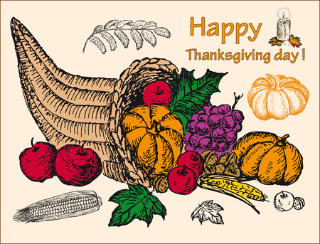 thanksgiving cornucopia: thanksgiving. hand drawing set of vector sketches