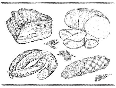 魚肉ソーセージ。手描きのスケッチのベクトルのセット  イラスト・ベクター素材