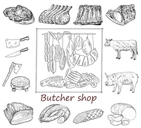 Carnicería: Carnicería. conjunto de dibujo a mano de dibujos vectoriales