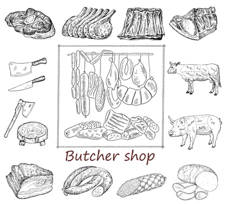 Butcher shop. hand drawing set of vector sketches Stock Illustratie