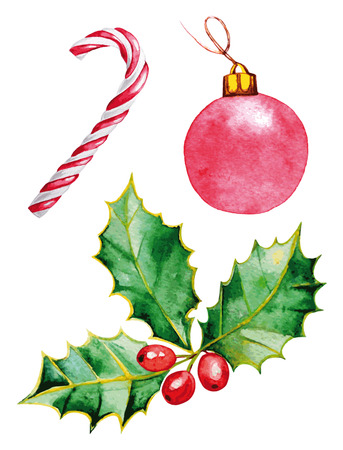 christmas watercolor: Merry Christmas. Watercolor colorful element for design holiday.