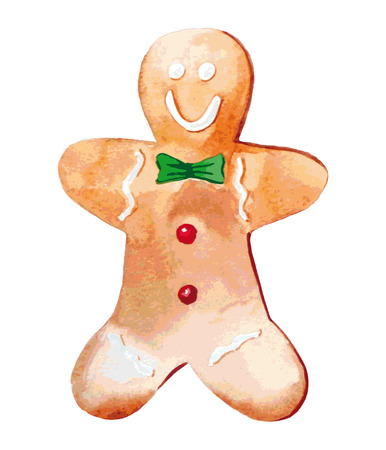 gingerbread man: Gingerbread man. Watercolor colorful element for design holiday.
