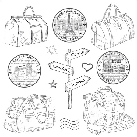 voyage: Travel bags. hand drawing set of vector sketches