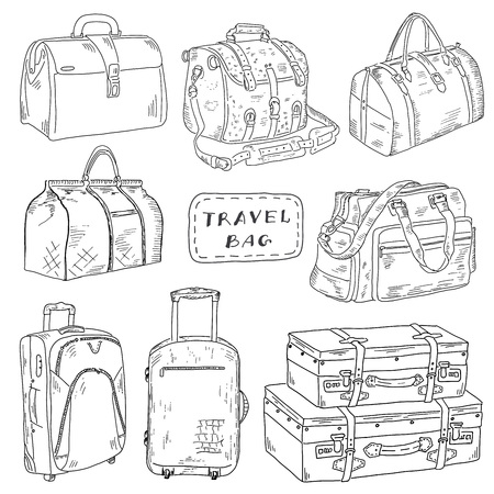 suitcase packing: Hand drawn Travel bags set of vector sketches
