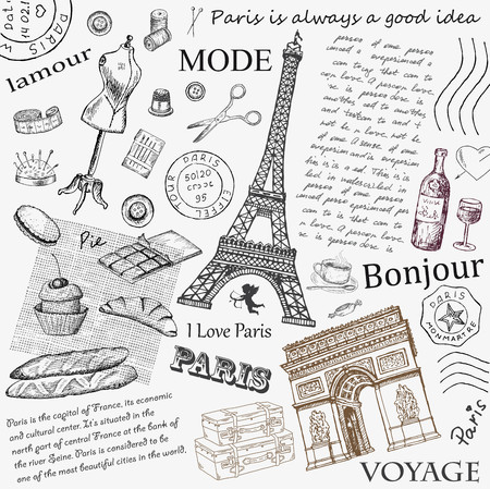 stamps: Paris Eiffel Tower. hand drawing set of vector sketches Illustration