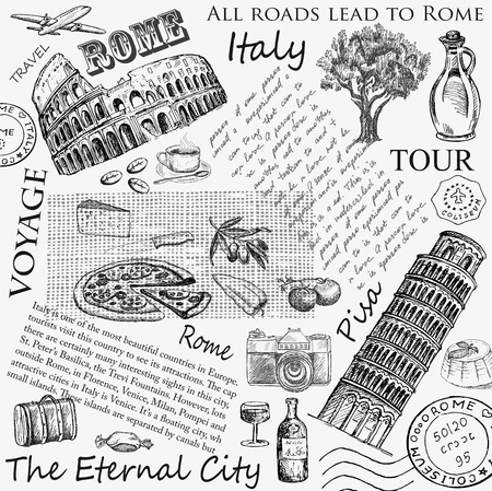 hand set: rome italy. hand drawing set of vector sketches