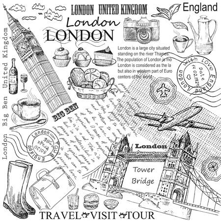Londres, el Big Ben conjunto dibujo a mano de dibujos vectoriales Ilustración de vector