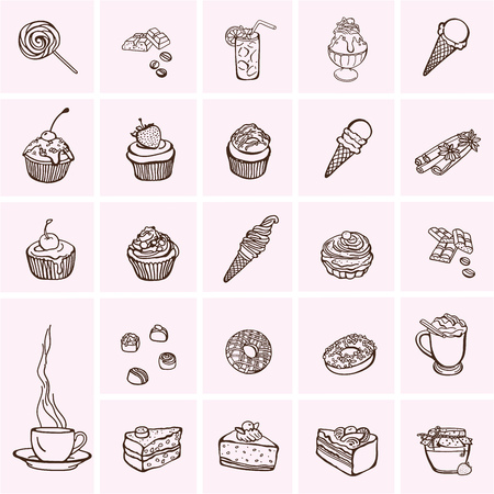 ice: Cakes and dessert icons set, sweets icons.