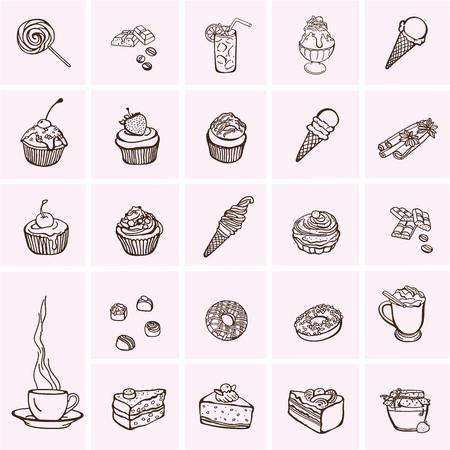 pastel de chocolate: Tortas y los iconos de postre, dulces establecidos iconos.