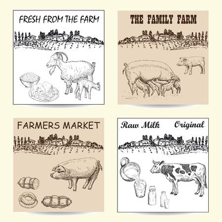 livestock: Farmers market poster with hand drawn livestock animals food vector illustration