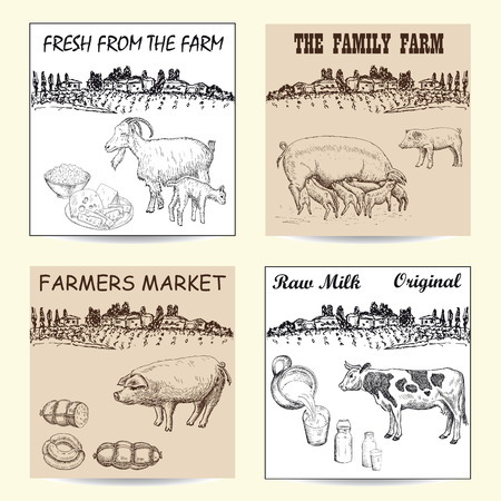 Farmers market poster with hand drawn livestock animals food vector illustration