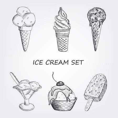 alimentos congelados: establece helado. ilustración vectorial de dibujado a mano