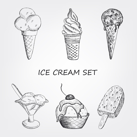 food illustration: ice cream set. hand drawn vector illustration